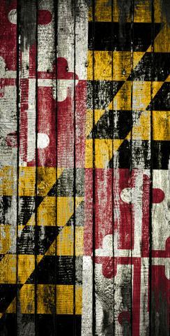 Distressed Wood Flag (Maryland) Themed Custom Cornhole Board Design