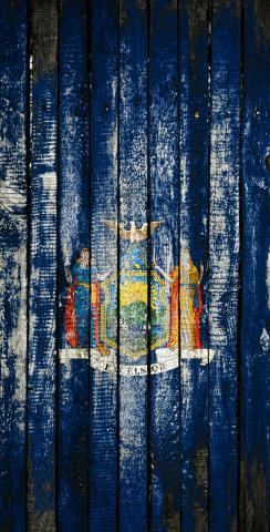 Distressed Wood Flag (New York) Themed Custom Cornhole Board Design