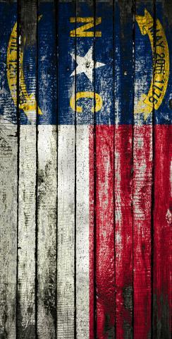 Distressed Wood Flag (North Carolina) Themed Custom Cornhole Board Design