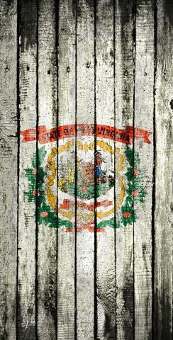 Distressed Wood Flag (West Virginia) Themed Custom Cornhole Board Design
