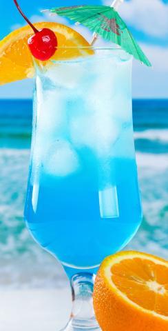 Blue Drink Themed Custom Cornhole Board Design