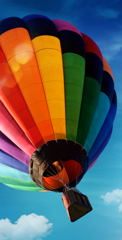 Hot Air Balloon Themed Custom Cornhole Board Design