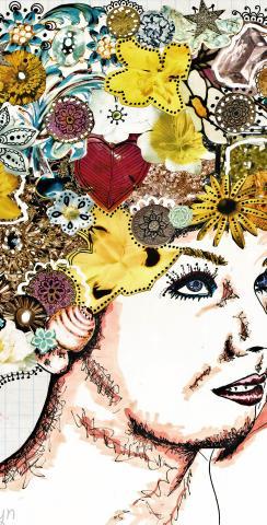 Lady with Flowers in Hair Themed Custom Cornhole Board Design