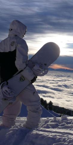 Snow Boarder in White Themed Custom Cornhole Board Design