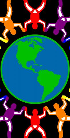 Gay Pride Rainbow People Around the Earth Themed Custom Cornhole Board Design