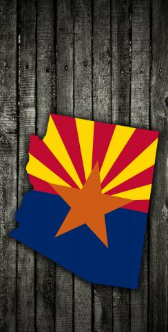 Wood Slate State Flag & Map (Arizona) Themed Custom Cornhole Board Design