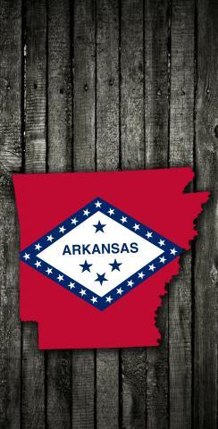 Wood Slate State Flag & Map (Arkansas) Themed Custom Cornhole Board Design