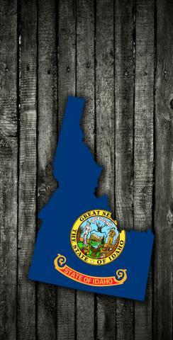 Wood Slate State Flag & Map (Idaho) Themed Custom Cornhole Board Design