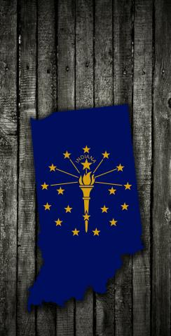 Wood Slate State Flag & Map (Indiana) Themed Custom Cornhole Board Design