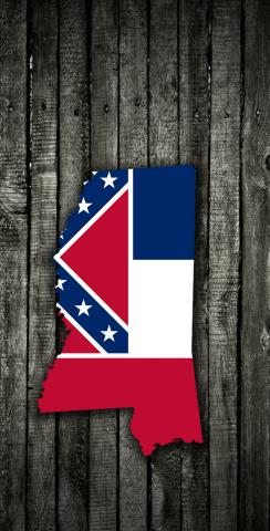 Wood Slate State Flag & Map (Mississippi) Themed Custom Cornhole Board Design