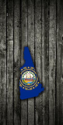 Wood Slate State Flag & Map (New Hampshire) Themed Custom Cornhole Board Design
