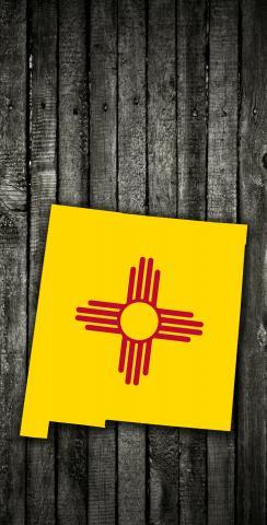 Wood Slate State Flag & Map (New Mexico) Themed Custom Cornhole Board Design