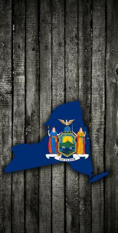 Wood Slate State Flag & Map (New York) Themed Custom Cornhole Board Design