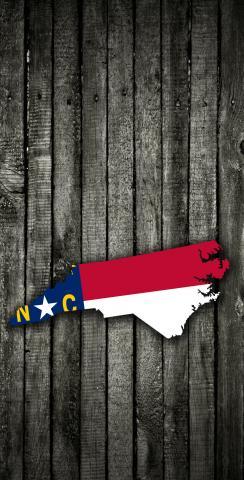 Wood Slate State Flag & Map (North Carolina) Themed Custom Cornhole Board Design