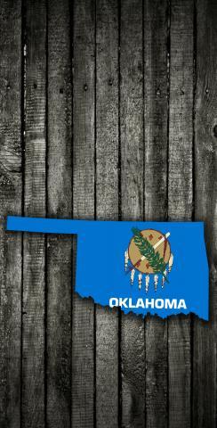 Wood Slate State Flag & Map (Oklahoma) Themed Custom Cornhole Board Design