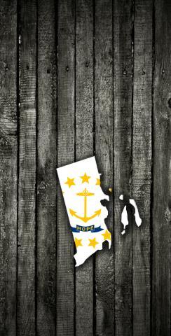 Wood Slate State Flag & Map (Rhode Island) Themed Custom Cornhole Board Design