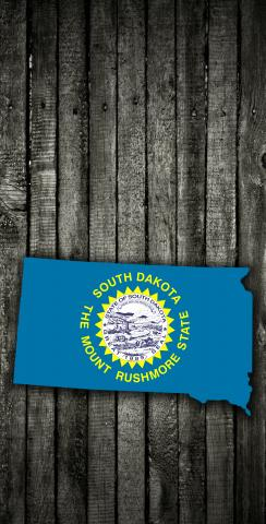 Wood Slate State Flag & Map (South Dakota) Themed Custom Cornhole Board Design