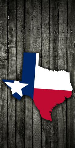 Wood Slate State Flag & Map (Texas) Themed Custom Cornhole Board Design