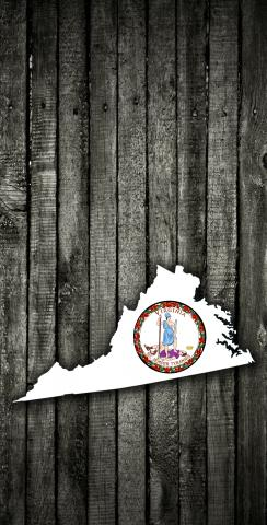 Wood Slate State Flag & Map (Virginia) Themed Custom Cornhole Board Design