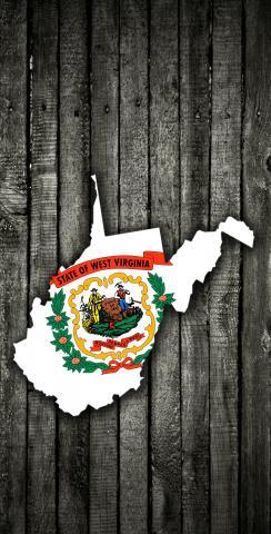 Wood Slate State Flag & Map (West Virginia) Themed Custom Cornhole Board Design