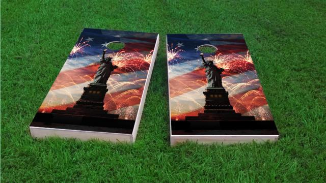 American Flag, Fireworks & Lady Liberty