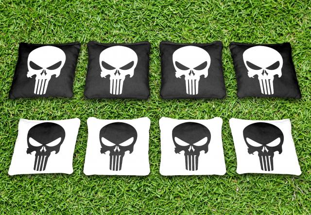 Black And White Punisher Themed premium specialty custom cornhole bags made right here in the USA!