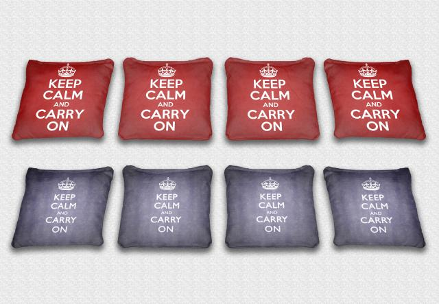 Keep Calm Themed premium specialty custom cornhole bags made right here in the USA!
