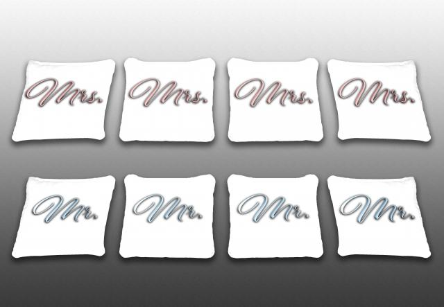 Mr. And Mrs. Themed premium specialty custom cornhole bags made right here in the USA!