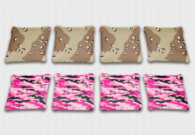Playfull Camo Themed premium specialty custom cornhole bags made right here in the USA!