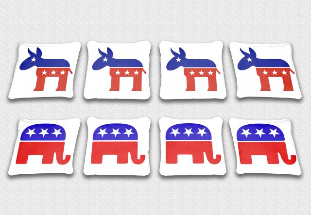 Political Party Themed premium specialty custom cornhole bags made right here in the USA!