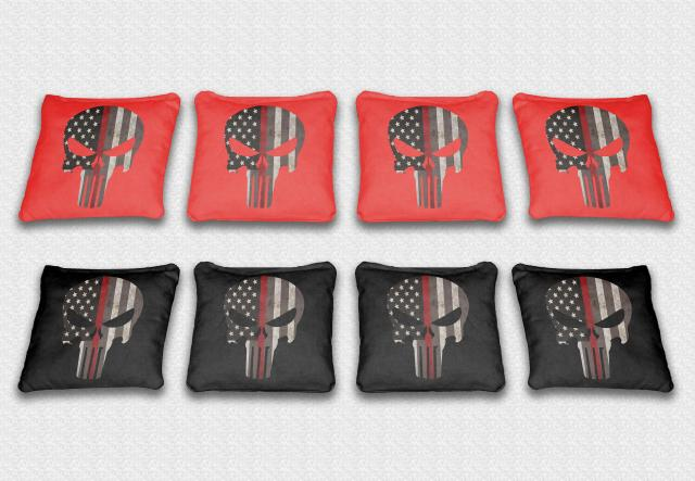 Red Line Punisher Themed premium specialty custom cornhole bags made right here in the USA!