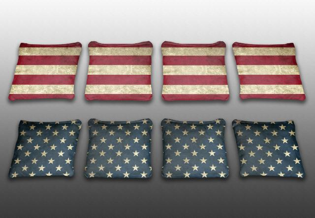 Stars And Stripes Themed premium specialty custom cornhole bags made right here in the USA!