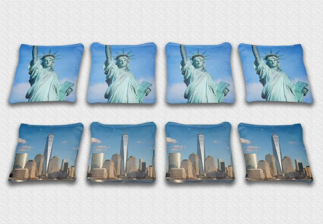 Statue Of Liberty Themed premium specialty custom cornhole bags made right here in the USA!