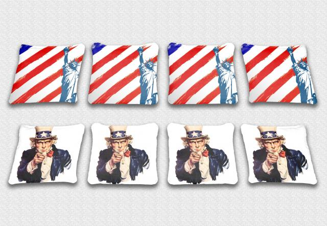 Uncle Sam Themed premium specialty custom cornhole bags made right here in the USA!