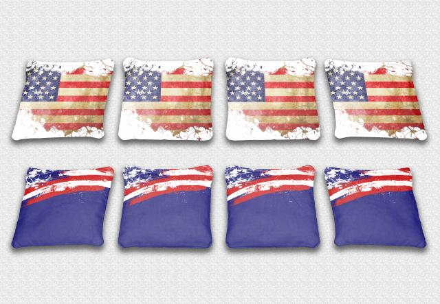 US Flag Themed premium specialty custom cornhole bags made right here in the USA!