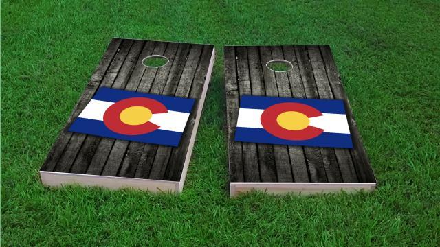 Wood Slate State Flag & Map (Colorado)